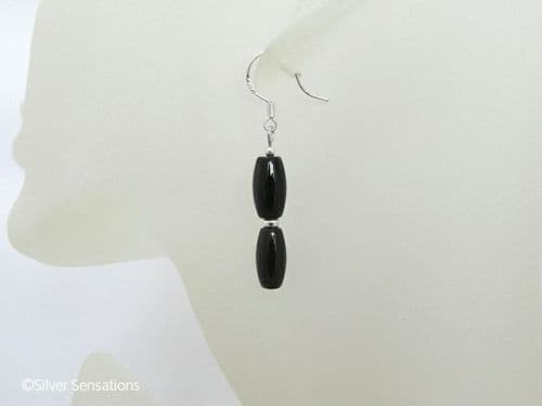 Black Onyx Rice Duo & Sterling Silver Donuts Earrings