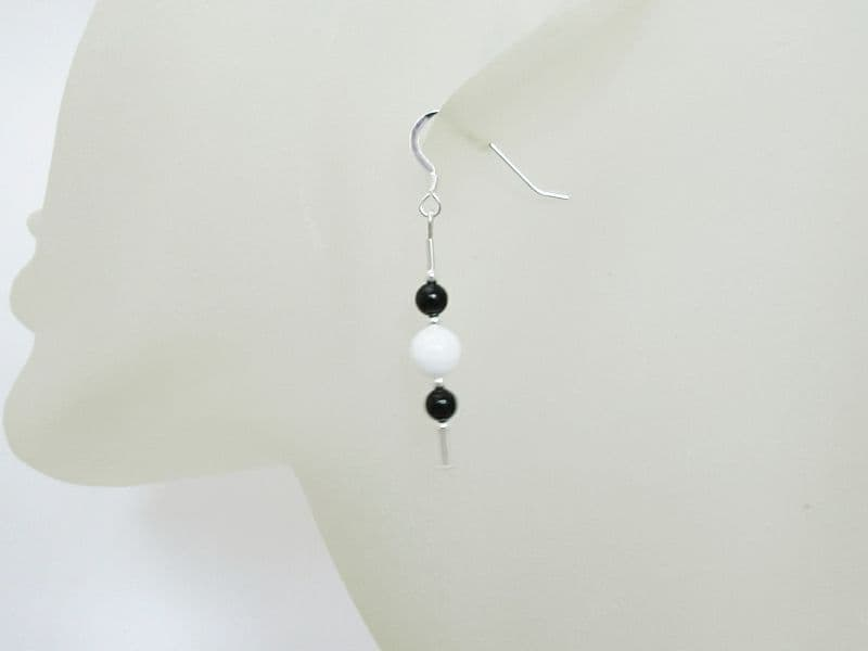 Black Onyx & Snow White Jade Sterling Silver Earrings