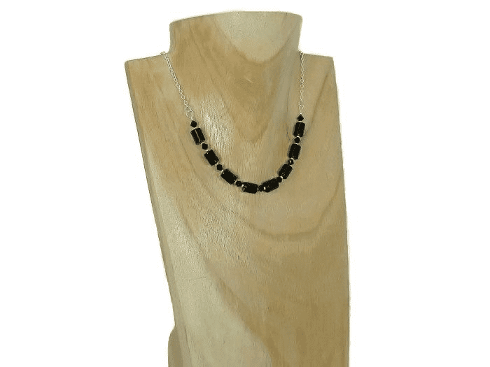 Black Onyx Tubes, Crystals & Sterling Silver Chain Necklace