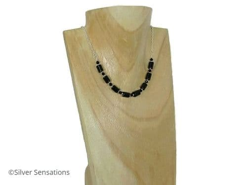 Black Onyx Tubes, Swarovski Crystals & Sterling Silver Chain Necklace