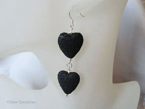 Black Volcanic Lava Stone Double Hearts & Sterling Silver Long Drop Designer Earrings