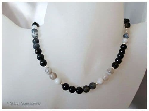 Black & White Lace Agate & Sterling Silver Necklace
