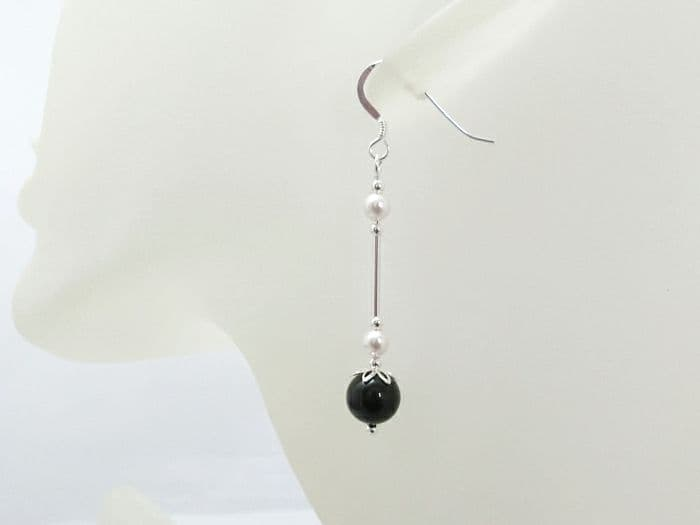 Black & White Pearl Earrings With Sterling Silver Tubes