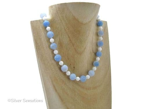 Blue Frosted Cracked Agate, White Jade & Sterling Silver Unique Beaded Necklace