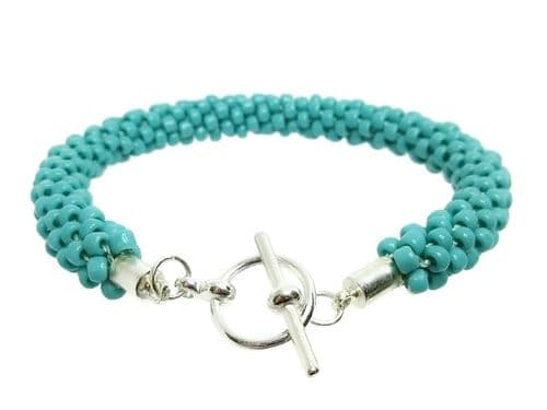 Blue Green Turquoise Colour Beaded & Woven Kumihimo Seed Bead Bracelet