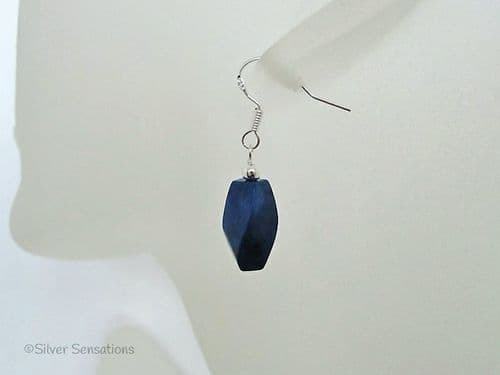 Blue Howlite Lapis Twist Beads & Sterling Silver Drop Earrings