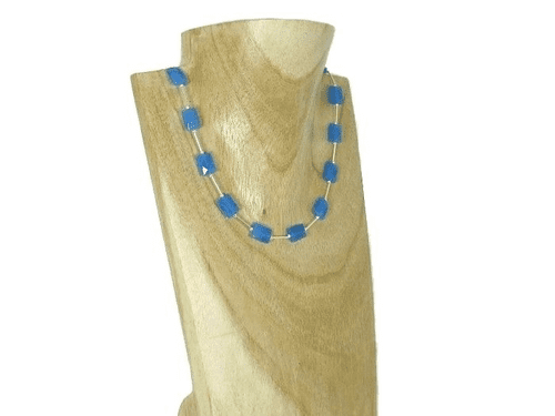 Blue Jade Faceted Oblongs & Sterling Silver Tubes Necklace