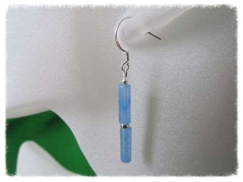 Blue Serpentine Jade Column Tubes & Sterling Silver Earrings