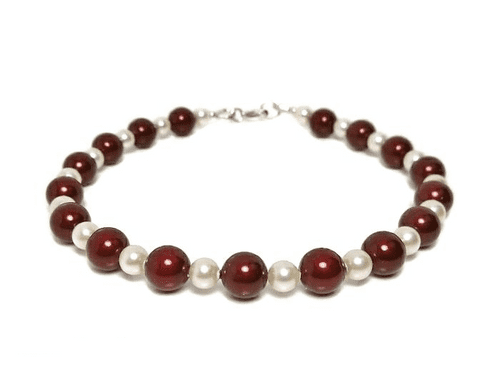 Bridesmaids Pearls Bracelet With Burgundy & Cream Austrian Pearls