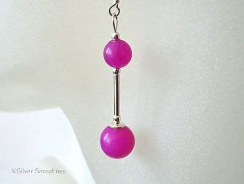 Bright Fuchsia Pink Jade & Sterling Silver Tube Earrings
