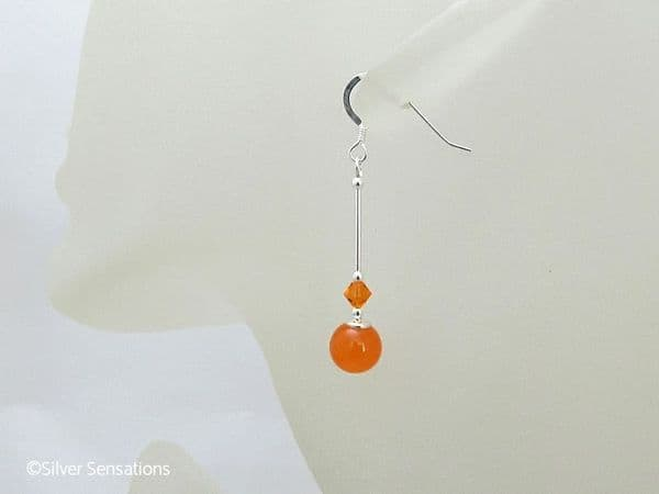 Bright Orange Jade Earrings With Swarovski Crystals & Sterling Silver | Silver Sensations