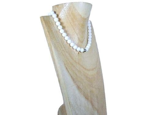 Bright White Agate & Sterling Silver Bead Necklace