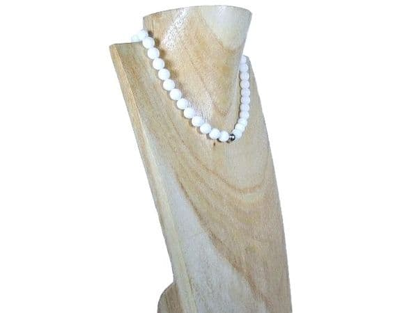 Bright White Agate & Sterling Silver Bead Necklace | Silver Sensations