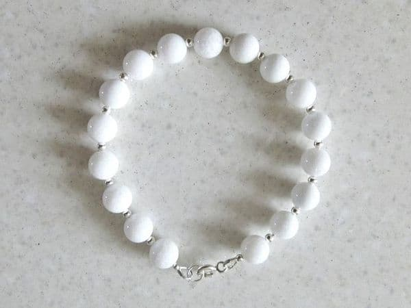 Bright White Agate & Sterling Silver Beaded Bracelet | Silver Sensations