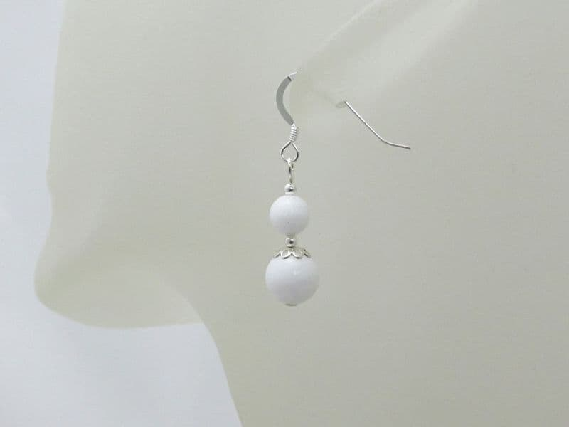 Bright White Agate & Sterling Silver Beaded Drop Earrings
