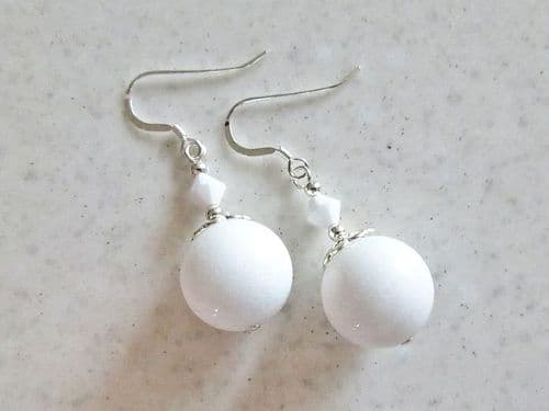 Bright White Agate & Sterling Silver Beaded Drop Earrings With Swarovski Crystals