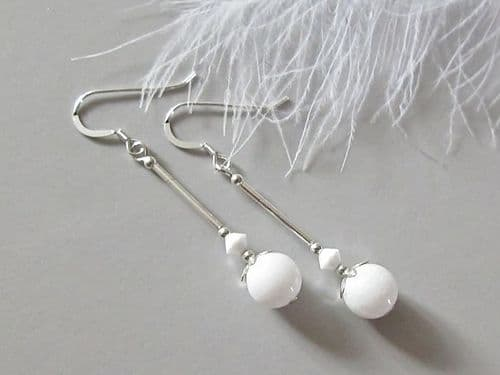 Bright White Agate & Sterling Silver Earrings
