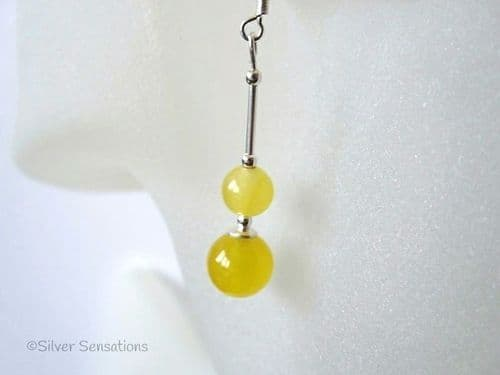 Bright Yellow Jade Duo Sterling Silver Earrings
