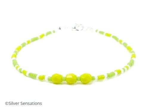 Bright Yellow & Lime Green Seed Bead Stacking Fashion Bracelet