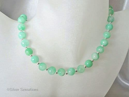 Brighter Emerald Green Aventurine Rounds & Sterling Silver Necklace