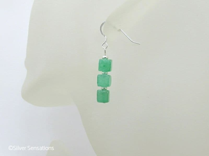 Brighter Green Aventurine Square Cube Stack Sterling Silver Earrings
