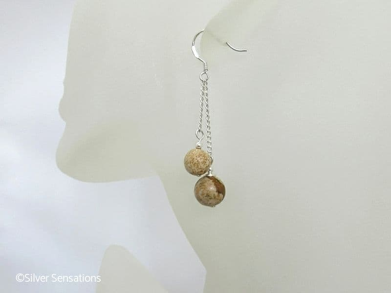Brown & Beige Picture Jasper Double Chain Dangly Earrings