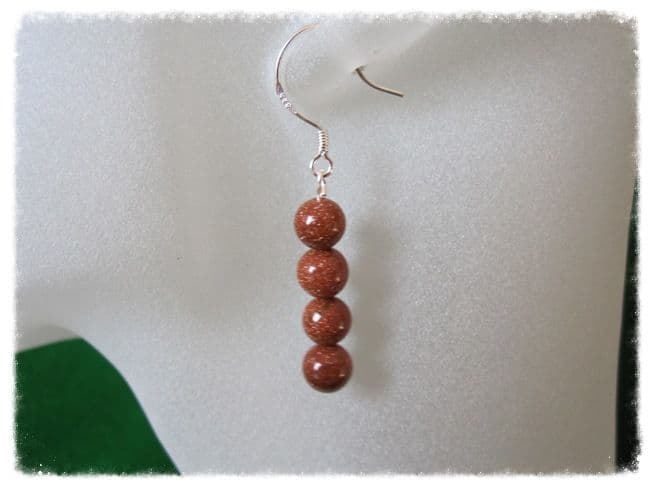 Brown Goldstone Sandstone Round Stack Sterling Silver Earrings