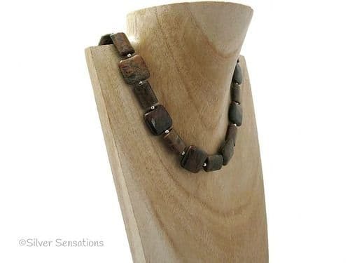 Brown & Green Rainbow Agate Oblongs & Squares Sterling Silver Necklace