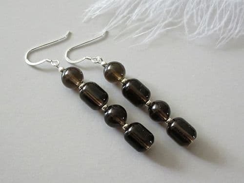 Brown Smokey Quartz Tube Earrings With  Sterling Silver | Silver Sensations