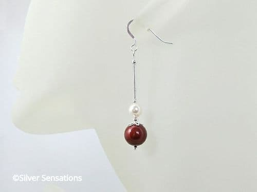 Burgundy Red & Cream Pearls Bridesmaids Earrings With Sterling Silver