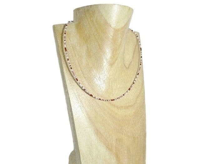 Burgundy Red, Pink & White Seed Bead Choker / Necklace