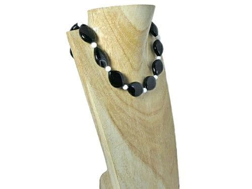 Chunky Black Agate Sterling Silver Necklace With White Agate | Silver Sensations
