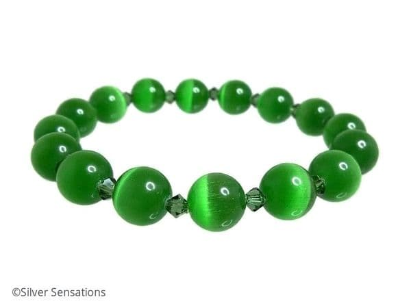 Chunky Emerald Green Cat's Eye Beaded Bracelet with Swarovski Crystals | Silver Sensations