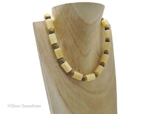Chunky Golden Honey Yellow Jade Tubes & Brown Gold Lace Agate Sterling Silver Necklace