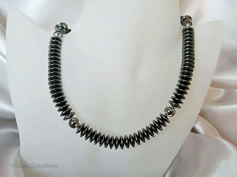 Chunky Hematite Discs & Sterling Silver Necklace
