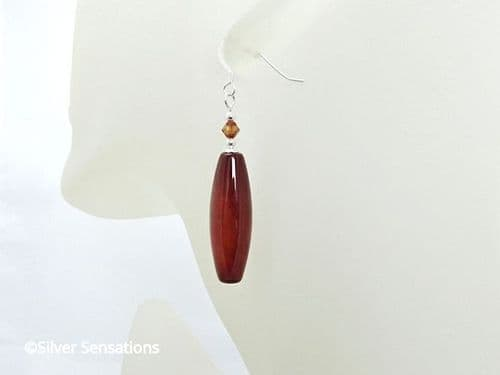 Chunky Orange Red Agate Long Earrings With Swarovski Crystals & Sterling Silver