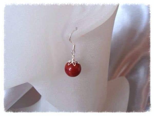 Chunky Red Beads & Sterling Silver Earrings