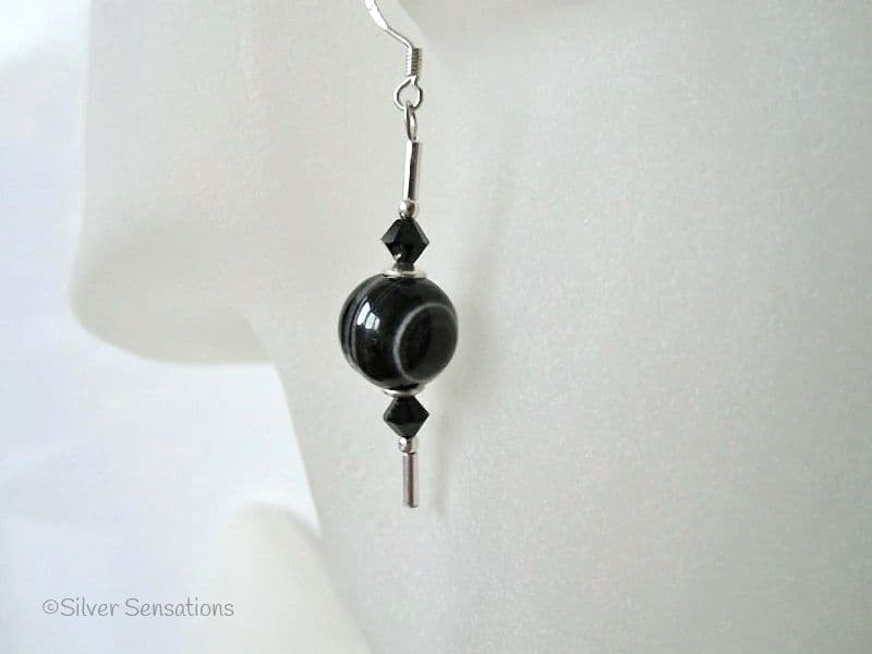 Chunky Stripey Banded Black Agate & Swarovski Crystals Sterling Silver Earrings
