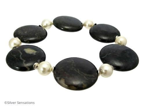 Chunky Very Dark Red Blood Stone Coins, Ivory Shell Pearls & Sterling Silver Cuff Bracelet