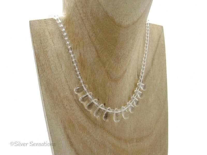 Clear Crystal Quartz Teardrops Sterling Silver Necklace