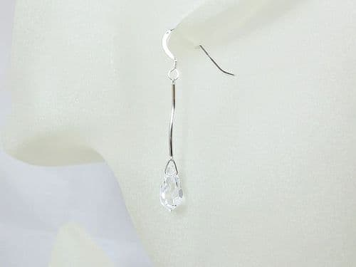 Clear Crystal Teardrop Earrings With Solid Sterling Silver Curved Bars | Silver Sensations