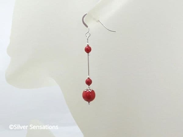 Coral Red Pearl Sterling Silver Earrings With Swarovski Pearls | Silver Sensations
