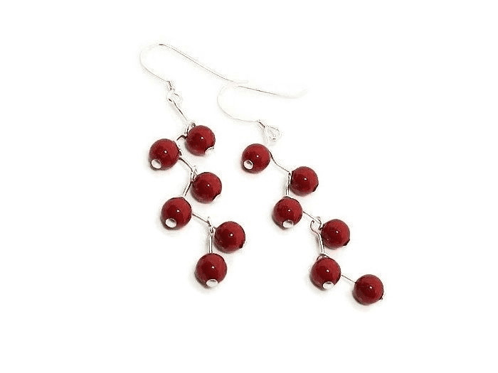 Coral Red Pearls Zig Zag Earrings With Sterling Silver