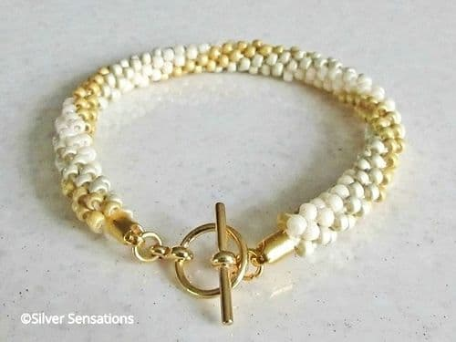 Cream & Gold Stripe Kumihimo Seed Bead Fashion Bracelet