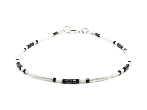 Dainty Black & White Seed Bead Holiday Anklet