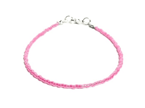 Dainty Bright Hot Pink Layering Seed Bead Holiday Anklet