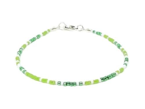 Dainty Green & White Boho Seed Bead Fashion Anklet