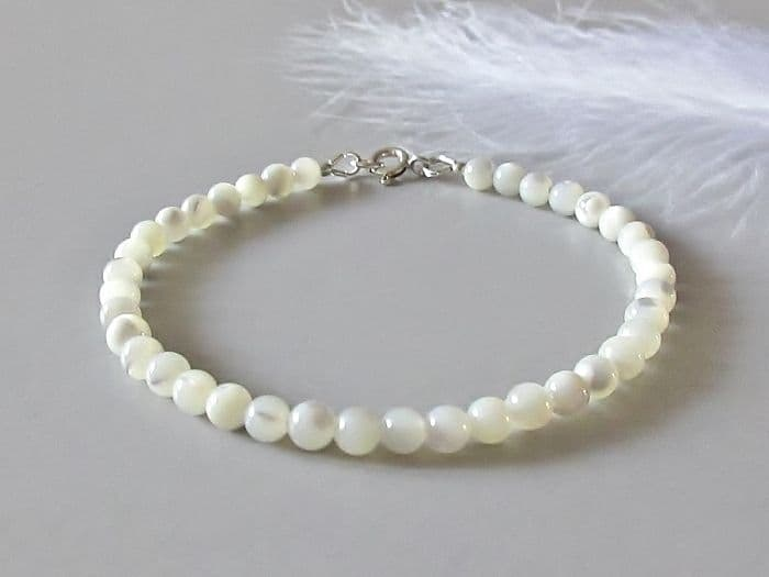 Dainty Natural White Mother of Pearl  Stacker Bracelet
