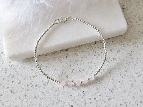 Dainty Pink Rose Quartz Bracelet With Sterling Silver Beads