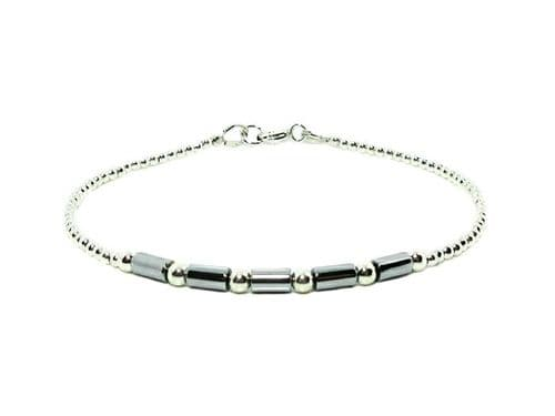 Dainty Silver Hematite Tube Beads Bracelet With Sterling Silver